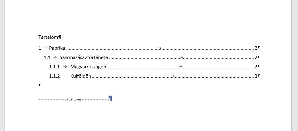 Word tartalomjegyzék készítés folyamatának végeredménye